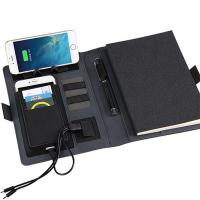 Buy cheap 2020 new arrivals popular business gift pu leather phone holder wireless power bank 8000mah charging notebook from wholesalers