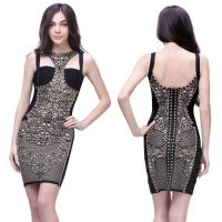 Buy cheap unique design fashion ladies floral printed high elastic short bodycon bandage dress from wholesalers