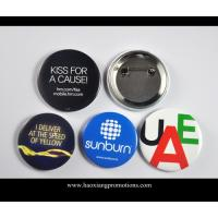 Buy cheap Custom Full Color Printed Logo Clear Lamination Round Tin Button Badge from wholesalers