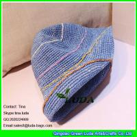 Buy cheap LDMZ-007 navy blue ladies bucket hats foldable raffia straw visor cap from wholesalers