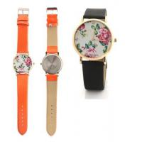 Buy cheap Colorful PU Leather Strap Women Flower Quartz Watches Plated Gold Bezel from wholesalers