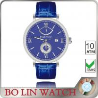 Buy cheap Solid 316L SS Blue Face Genuine Leather Watches Japan Movt 5 ATM from wholesalers
