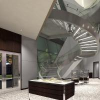 Buy cheap Prefabricated Stainless Steel Glass Stairs Curved Stair Manufacturers with Spigot Glass Railing from wholesalers