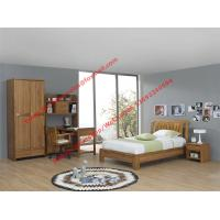 Buy cheap Bachelor room interior furniture fixture equitment by small size rubber solid wood bed and reading bookcase set product