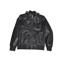 Buy cheap Custom Black Size 54 L Mens PU Leather Bomber padded down Jacket with Hoods product