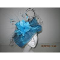 Buy cheap Navy Blue Fashion Ladies Fascinator Hats With Veiling Feather Flowers Veiling from wholesalers