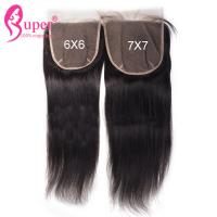 Buy cheap Natural Black Raw Straight Virgin Hair Closures With Machine Skin Weft from wholesalers