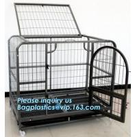 China Full Size Outdoor Kennel Collapsible Portable Puppy Carrier Removable Tray Pet Crate Metal Dog Cage, stainless steel lar on sale