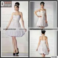 Buy cheap Hot Sale White Pleat Beaded Off Shoulder Knee Lenght Short Wedding Dresses UK from wholesalers