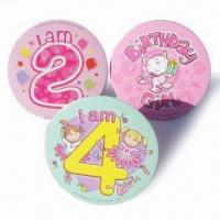 Buy cheap Large Pin Badges, Made of Hard Board Paper, with 15cm Bottom Diameter from wholesalers