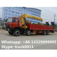 dongfeng LHD 8*4 16tons heavy duty cargo truck with crane for sale, best price dongfeng brand 16tons truck crane