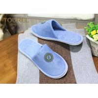 Buy cheap Custom Cotton Terry Cloth Disposable Hotel Slippers EVA Sole With Printing Logo from wholesalers