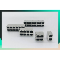Buy cheap PBT Insulation Female 2x2 RJ45 Modular Connector With LED from wholesalers