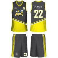 Buy cheap Ribbed Collar Quick Dry Stretchy Sublimated Basketball Uniforms from wholesalers