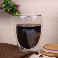 Buy cheap Heat Resistant Borosilicate 350ml double wall Glass Coffee Mugs for sale from wholesalers