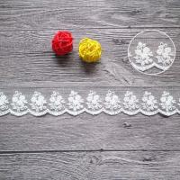 Buy cheap Cotton On Nylon Mesh Embroidered Lace Ribbon For Wedding Dress Pilling Resistance from wholesalers