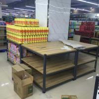 Buy cheap 3- Tier Folding Metal Tube Wooden Retail Display Shelves Powder Coated from wholesalers