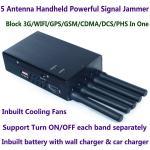 Buy cheap 5 Antenna Handheld Cell Phone 3G WIFI GPS GSM CDMA DCS PHS Signal Jammer 20M Shield Radius from wholesalers