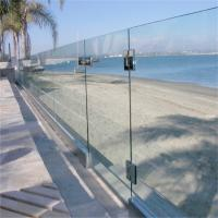 Buy cheap Exterior powder coat tempered deck glass fencing post with aluminum u channel base from wholesalers