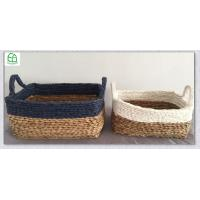 Buy cheap rush woven  basket, maize  basket, navy blue storage box Rectangle rush and paper hand woven storage basket  set of 2 from wholesalers