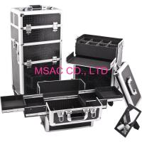 Buy cheap Black Leather Pro Makeup Case Strong Aluminum Edges Large Space For Strorage from wholesalers