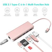 China USB Type C Hub Ethernet and HDMI adapter with SD Card Reader Power Charging 2 Type A Port for Apple Macbook pro&Windows on sale