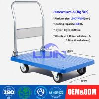 Buy cheap Four wheel Platform Hand Trolley / steel constructed folding hand cart from wholesalers