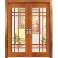 Buy cheap Double Leaf Timber Veneer Wooden Door With Glass For Living Room/ Main Entrance Glass Door from wholesalers