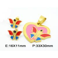 Buy cheap Fantasy Mini Butterfly Pendant Costume Jewellery Sets In Colorful Enamel from wholesalers