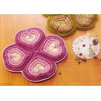 Buy cheap Pink Crochet Floor Rug Four Petals Shape Washable Crochet Flower Coasters from wholesalers