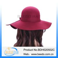 Buy cheap Fashion wide brim sun visor hat wool felt hat for ladies from wholesalers