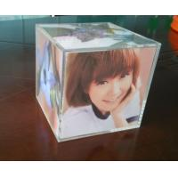 Buy cheap Clear perspex photo frame acrylic cube photo displays enviromental from wholesalers