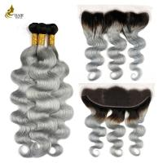 Buy cheap Ombre Brazilian Hair Bundles 1B / Grey Remy Body Wave Hair Weaving 8-32 from wholesalers