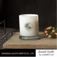 Buy cheap White Bottle Scented Jar Candle Pillar Shaped With Linden Flower / French Linen Fragrance from wholesalers