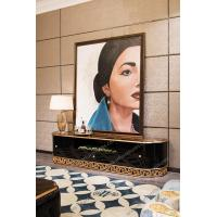 Buy cheap Wall Tv Unit Tv Showcase image Designs Black Lacquer Tv Stand Teak Cd Rack TR-028A from wholesalers