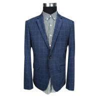 Buy cheap Mens Slim Fit Blazer Jackets Adults Navy Check Business Polyester Fabric Type from wholesalers