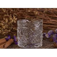 Buy cheap Flower Debossed Votive decorative glass candle holder OEM / ODM Machine Made from wholesalers