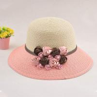 Buy cheap Middle Ribbon Women's Hats With UV Protection , Pink Flowers Straw Summer Hats For Women from wholesalers