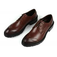 Buy cheap Any Logo Mens Leather Dress Shoes With Stitches Britain Styles Brown Leather Dress Shoes from wholesalers