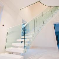Buy cheap White staircase straight staircase with wooden tread for new house design product