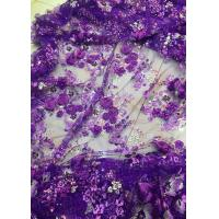 Buy cheap Luxury Guipure 3D Flower Lace Fabric For Apparel 135cm Width Purple from wholesalers