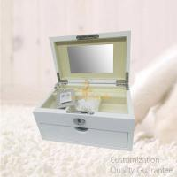 Buy cheap Women's Vacation Gifts MDF White Wooden Jewelry Storage Chest Box with Mirror and Key , Personalized Logo Brand. product