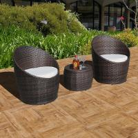 Buy cheap Super Patio 3 Piece Wicker Patio Conversation Set Outdoor Cushioned Rattan Furniture Set Brown from wholesalers