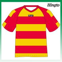 Buy cheap Red and Yellow Striped Soccer Jerseys Youth Football Team Uniforms from wholesalers