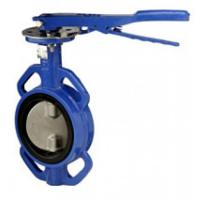 Buy cheap Blue Cast Iron Manual Butterfly Valve with aluminum handle from wholesalers