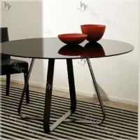 Buy cheap house modernity tempered glass top round dining table sets from wholesalers