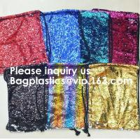 Buy cheap Customized Sublimation Sequins Drawstring Bag Black And White Backpack Bag,Reversible Bling Customized Sequin Drawstring from wholesalers