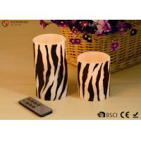 Buy cheap Zebra Striped Flameless Wax Candles Yellow Light LED Color With Remote Control product