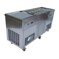 110V 220V  Thai Square Flat Pan Fried Ice Cream Machine Low Noise CE Approved