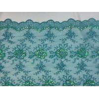 Buy cheap Green Scalloped Beaded Lace Fabric By The Yard For Wedding Bridals / Gowns from wholesalers